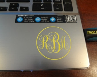 Initial Monogram Toshiba Dell  Apple Decal MacBook Pro 13 inch Air PC Laptop 11 15 17 Decal Sticker Mac PC