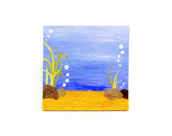 Under the Sea Painting, Nursery Painting, Canvas Painting, Oil Painting, Art Work, Ocean Scene Painting, Home Decor, Wall Hanging
