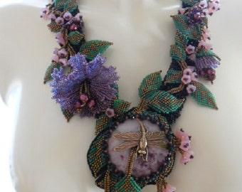 Dragonfly, OOAK Bead woven neckpiece