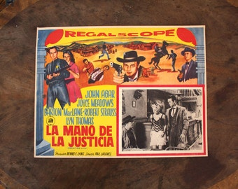 Vintage Lobby Card for Frontier Gun. 1958 Original Spanish Movie Poster for a John Agar B Movie Cult Classic Western