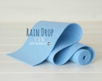 "100% Merino Wool Felt Roll - 5"" x 36"" Wool Felt Roll - Wool Felt Color Rain Drop-2160 - Pure Merino Wool Felt - Light Blue Color Wool Felt"