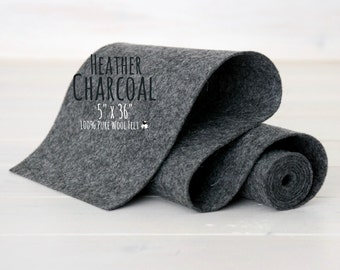 "100% Merino Wool Felt Roll - 5"" x 36"" Wool Felt Roll - Wool Felt Color Heather Charcoal-9050 - Heather Wool Felt - Dark Gray Color Felt"