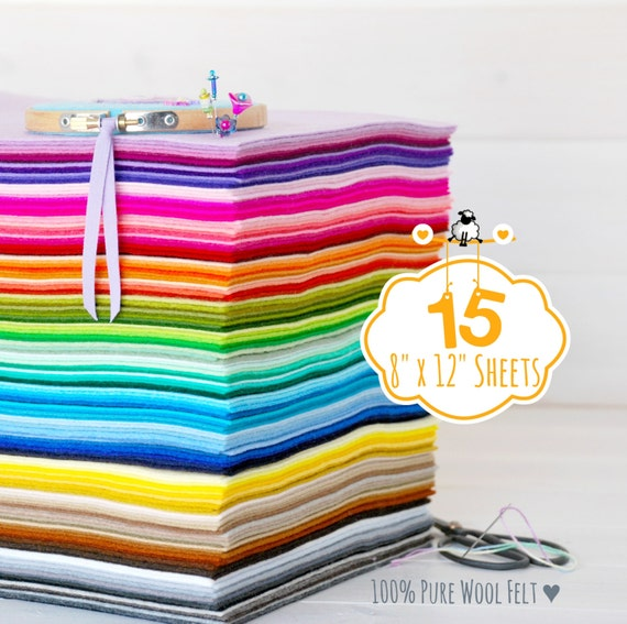"""100% Wool Felt Sheets - 15 Sheets of 8"""" X 12"""" - Merino Wool Felt - Pure Wool Felt Sheets - 15 Felt Sheets - You Choose your Colors"""