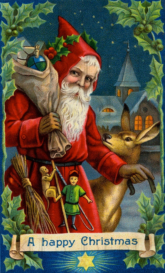 Superb Edwardian Victorian Santa Claus In Blue Night Sky