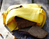 Bread bag yellow soft linen bag -  Reusable keeper - Bread bags - Natural linens
