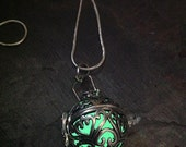 Hearts & Scrolls Silver Glow Pendant Locket in Aqua or Green