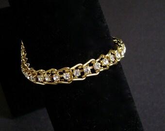 Vintage Rhinestone Tennis Bracelet, Gold, Bling, Sparkle, Costume Jewelry, Faux Diamond, Paste, Gold Plated