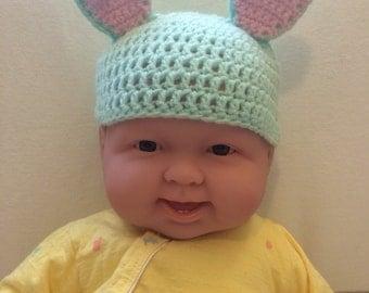 Green Crochet Baby Bunny Beanie