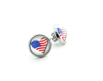 American Flag Earrings / 4th of July Earrings / Patriotic Jewelry / Stars and Stripes / Red White Blue / 10mm / Independence Day