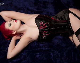 Black Satin Corset with Cherry Blossom Embroidery