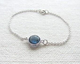 Dark Blue Bracelet, Glass Crystal Stone, Dainty Jewelry, Minimalist, Bridal