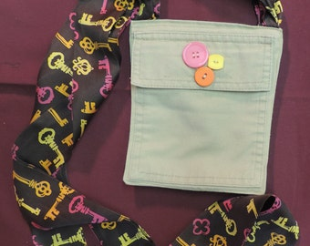 Small Tan with Key Print Scarf & Matching Buttons Cross Body Purse, 2 Pockets, Upcycled/Recycled from Pant Pockets