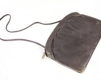 10 DOLLAR SALE---Vintage 80's I.MAGNIN Dark Grey Leather Flat Shoulder Purse