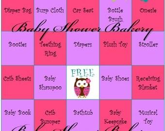 Owl Baby Shower Bingo, Pink and Purple Owl Baby Shower Game, Owl Theme Baby Shower for Girl, Printable Baby Shower Bingo Cards, Set of 40