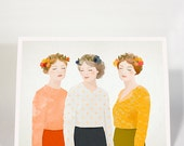 Silent Journey /  portrait, women, flower, girls, flower crown, wall art, print, digital, poster, 18x24c, 30x40cm