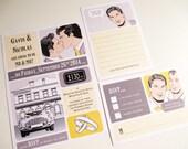 Gay / Same Sex Retro Wedding Invitation Suite, Printable Set, Digital Templates, MEN