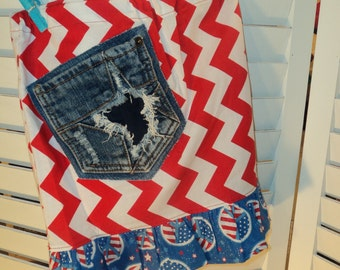 Patriotic Skirt , size 7/8 , with Recycled Blue Jean pocket