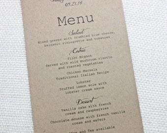 Rustic Wedding Menu - Simple, Rustic  Wedding Reception Dinner Menu - Stylish, Rustic, Chic