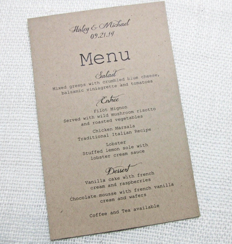 Rustic wedding menu simple rustic wedding by loveofcreating for Rustic simplicity
