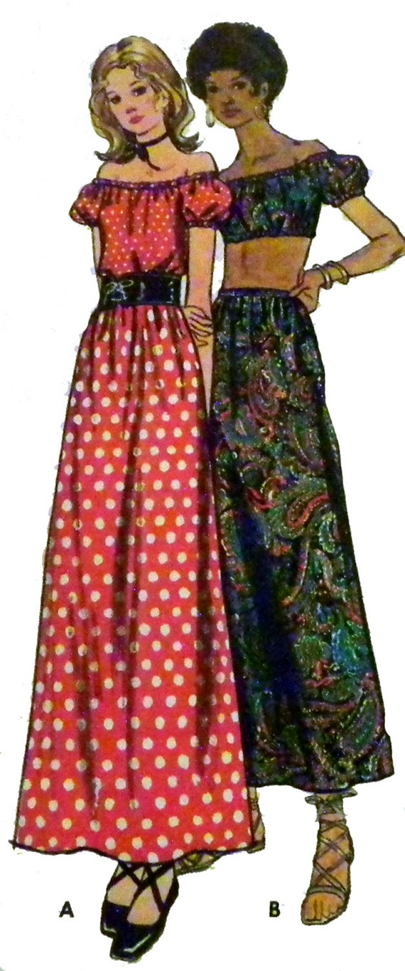 1970s Boho Crop Top Peasant Blouse and Skirt sewing pattern