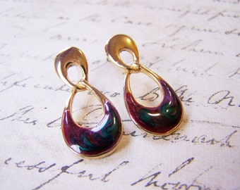 Vintage Gold Tone Purple Enameled Figure Eight Post Earrings / Gift for Her / J250