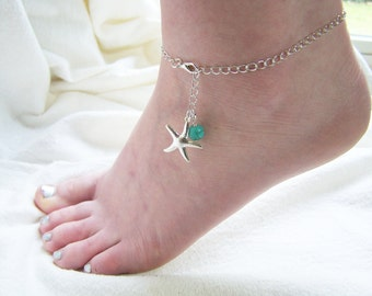 Silver Starfish Turquoise Beaded Chain Nautical Adjustable Anklet / Gift for Her