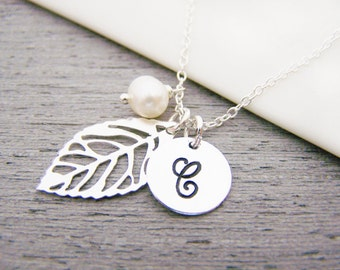 Silver Leaf Personalized Initial Freshwater Pearl Sterling Silver Bridesmaid Necklace / Gift for Her