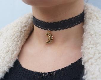 Tibetan Moon- Black Crocheted Lace Choker
