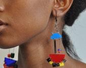 Chandelier Color Pop Earrings -Geometric asymmetric long chandelier earrings
