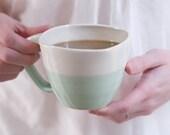 dipped aqua mug with squared rim