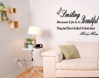 Wall Quotes Keep Smiling Life Is Beautiful Marilyn Monroe Vinyl Wall Decal Quote Removable Wall Sticker Home Decor (C71)