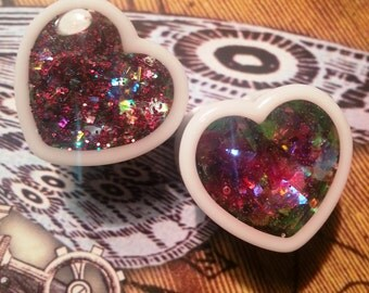 Prism Heart Plugs sizes 00g, 1/2, 9/16, 5/8, 11/16, 3/4, 7/8