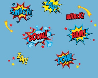 Superhero Wall Decals, Superhero Sayings Decal, Pow Zap Boom Wall Decals,  REUSABLE DECALS