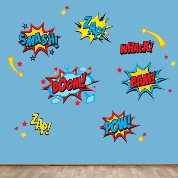 superhero wall decals superhero sayings decal pow zap boom