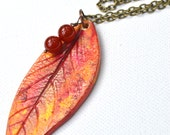 Fall Leaf Necklace - Air Dry Clay - Mustard Burgundy Gold - Woodland - Nature  - Berries - Fall Winter Necklace- Bronze- Vintage Beads