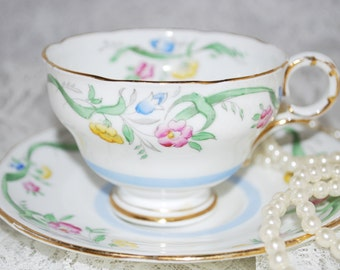 MELBA Vintage Tea Cup and Saucer/ Hand Painted /Made in England / Tea Party