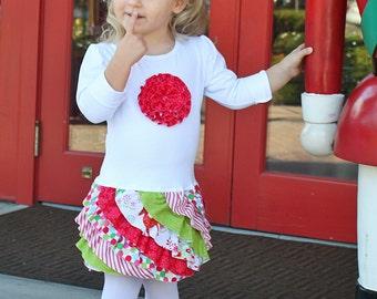Christmas dress ruffles t-shirt toddler girl pattern rosette holiday FLUFFY RUFFLE