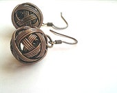 Brass Ball Dangle Earrings- Ball Earrings- Metallic Yarn Coiled Earrings-Coiled Ball Charms-Mother's Day-Gift Idea