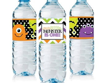 Little Monster Water Bottle Labels - Digital File only