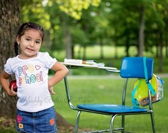 Preschool Embroidered Shirt - Back to School Embroidered Shirt, Preschool Shirt, Girls, Boys, Back to School