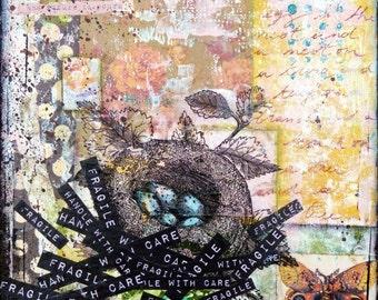 "Fragile 1 : signed art print on archival paper, 20 x 20 cm (8"" x 8"")"
