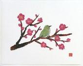 10% Off Special, Bird On Plum Tree Art, Modern Japanese Art, Oriental, Giclee Fine Art Print for 11 x 14 window mat, Free Shipping USA