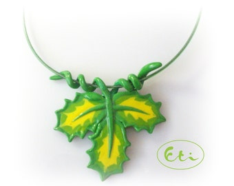 Spring pendant, Green leaves necklace, air dry clay, cold porcelain, Spring gift