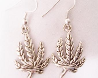 Metal leaf charm earrings  - leaf earrings - leaf charm jewelry - metal charm jewelry - leaf charms - leaves