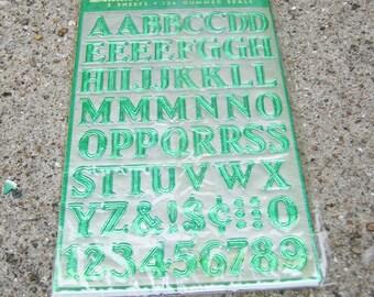 Vintage Dennison Gummed Foil Lettersets Letter Sets Green 2 Sheets 136 Seals Complete Set