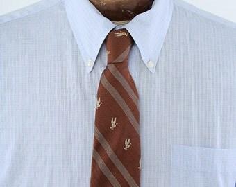 1960s Era Brown Striped Mallard Duck Pattern Mens Necktie Paddock Brand