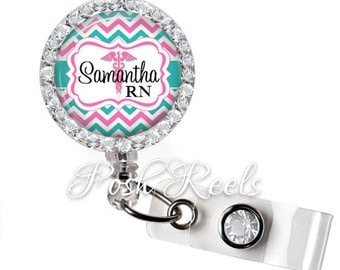 Retractable ID Badge Reel - Personalized Pink and Teal Chevron Medical Symbol Badge ID Reel, Name Badge Reel - 0844
