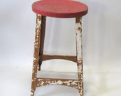 Stool, Industrial, Metal, Red