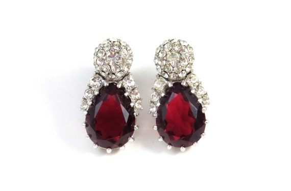 1b4db05a3 Ruby Red CINER Earrings - Vintage 1950's Red Stone & Swarovski Crystal Clip  Backs - Signed Costume Show Stoppers