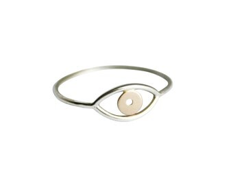 Silver and Gold Evil Eye, Evil Eye Ring, Third Eye Ring, Thin Silver & Gold Ring, Delicate Ring, Simple Ring, Eye Ring, Mixed Metal Ring